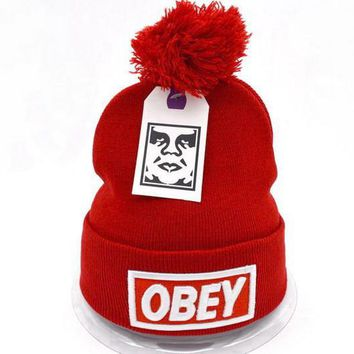 Obey Women Men Embroidery Beanies Knit Wool Hat Cap-27