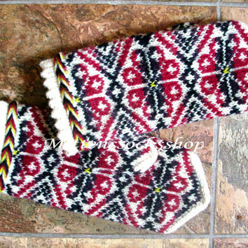 Mittens Hand knitted Wool mittens Winter gloves Hand knit wool gloves Patterned mittens Red colored floral ornament on a white background