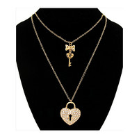 Crystal Heart Lock and Key Necklace