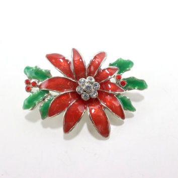 Poinsettia Brooch Pin Christmas Flower Pin Brooch Red Poinsettia Jewelry Vintage Christmas Jewelry