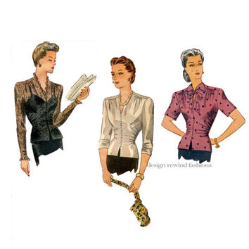 40s FITTED BLOUSE Pattern Sexy Evening Lace Overblouse Film Noir Keyhole Top V-Neck Bust 38 Simplicity 1120 Women's Vintage Sewing Patterns