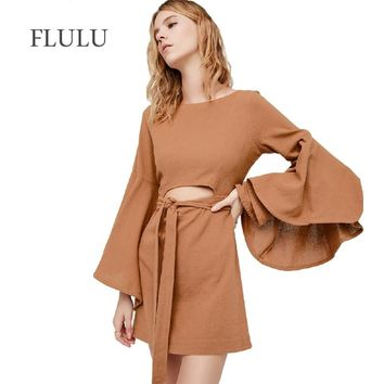 FLULU Autumn Dress Women 2018 Sexy Vintage O-Neck Flare Sleeve Hollow Out Mini Dress Female Elegant Slim Club Party Dresses 2XL