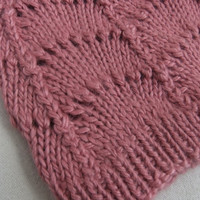 Alpaca Hand Knit Scalloped Lace Women's Beanie Hat in Old Rose