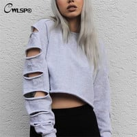 Sexy Sweatshirt Women Long Sleeve Holes Hollow Out Crop Top Midriff Women Hoodies Sweatshirt polerones mujer bts kpop QA1335