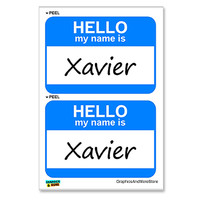 Xavier Hello My Name Is - Sheet of 2 Stickers