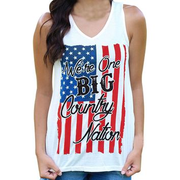 Women American Flag Country Nation Tank Top
