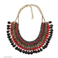 Red Stone Woven Statement Necklace