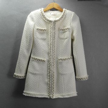White tweed jacket and long sections Autumn / Winter long-sleeved jacket small fragrant wind windbreaker coat Heavy beaded coat