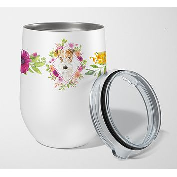 Fox Terrier Pink Flowers Stainless Steel 12 oz Stemless Wine Glass CK4199TBL12