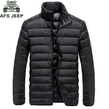 Afs Jeep 2017 Autumn Winter Down Jacket Men Casual Military Lightweight Down Parka Coat Male Windproof Warm Mens Outerwear