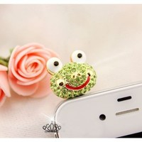 Earphone Jack Accessory 1pcs Of Bling Lively Big Glasses Green Frog / Dust Plug / Ear Jack For For Iphone 4 4S / iPad / iPod Touch / Other 3.5mm Ear Jack