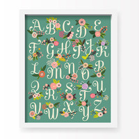 Home Decor Nursery Wall Art - Floral Alphabet Print (green) - 11x14