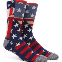 """New"" Socks American Quilt Crew Socks - Mens Socks - Red/White/Blue - One"
