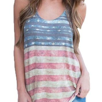 Dark Blue American Flag Vintage Summer Tank Top