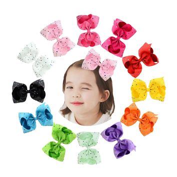 "8"" Inch Grosgrain Colorful Rhinestone Crystal Alligator Hair Bow Clips Pins Barrettes Accessories for Baby Toddler Girls Kids Children Women"