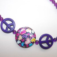 ON SALE Purple Peace and Love Assymetrical Necklace