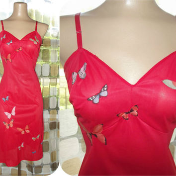 Vintage 60s Full Slip | 1960s Red Full Slip | Vanity Fair | Scarlet Red | Vintage Lingerie | Butterfly Appliques | 1950s 50s Retro | Size ML