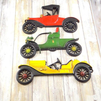 Vintage Midwest Cast Iron Car Wall Plaques, Set of Three