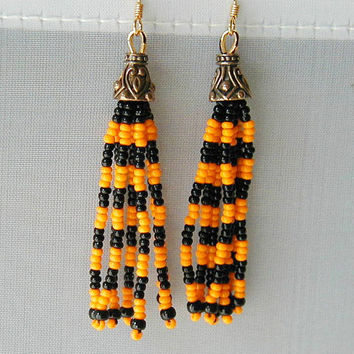 Gothic Style Halloween Orange and Black Dangle Earrings ~Cone Dangle Earrings~Halloween Earrings~Long Dangle Earrings~Orange& Black Earrings