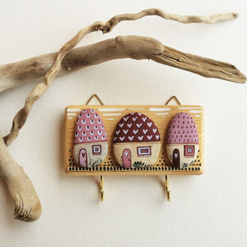 Key Holder, Wall Hook, Wood Key Holder Wall Decor, Wall Hanging Key Holder, Houses Wall Decor
