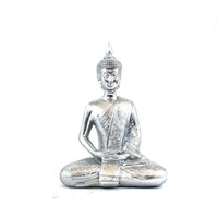 buddha statue, metallic silver, chrome, home decor, upcycled, buddha art, sitting buddha