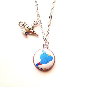 "Handmade ""Genie and Lamp"" Aladdin Inspired Necklace with Magic Lamp Charm Silver with 20' Chain"