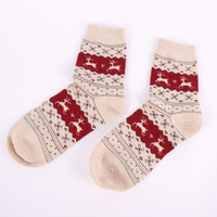 Winter Women Thick Socks Christmas Gift Snowflake Deer Women Wool Socks Warm Winter Novelty Sock Filler Xmas Gift