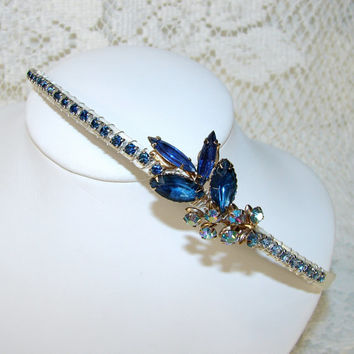 Royal Blue Jeweled Headband Rhinestone Hairpiece Bohemian Hair Accessories Vintage Jewelry Wedding Headpiece Prom Headband Dazzling Blue