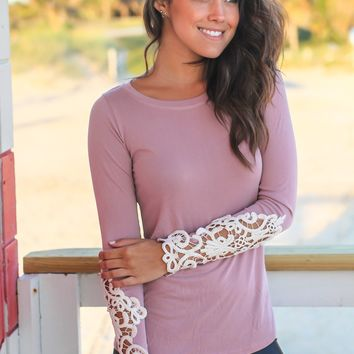 Mauve Long Sleeve Top with Crochet Sleeves