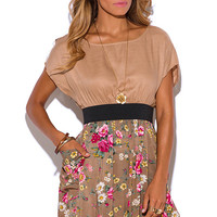 No It's Not Backwards Floral Nude Dress