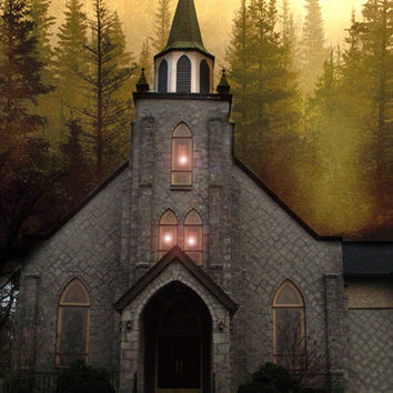 "Church Lights Photography, Gothic Church Winter Night, Church In Autumn Fall Woodlands, Fairytale Photos, Church In The Woods 9"" x 12"""