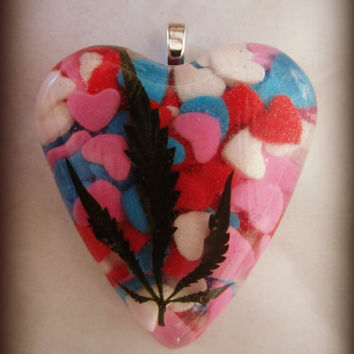 Real Medical Marijuana Leaf with Real Candy Heart Sprinkles Neck Candy