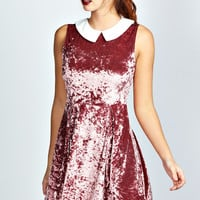 Jenny Contrast Collar Velvet Skater Dress