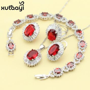 Women Four Piece Red Stones Cubic Zirconia Fashion 925 Silver Jewelry Sets Cheerful Necklace Ring Earring Bracelet Free Box