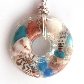 Beach Resin Pendant Necklace - Real Shells in Resin - Ocean Pendant - Beach Jewelry - Resin Jewelry - Resin Necklace - Shell Necklace
