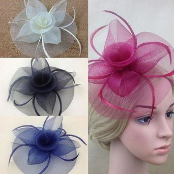 LMF78W New Elegant Lady Women Fascinator Hat Clips Hairpins Hair Accessories Church