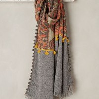 Pom Patch Scarf by Anthropologie in Orange Size: One Size Scarves