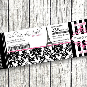 Paris Baby Shower Boarding Pass Invitation Party Eiffel Tower pink and black damask Airplane Ticket printable parisian themed party decor