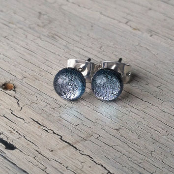 Grey Dichroic Glass Stud Earrings - Stud Earrings - Glass Stud Earrings, Dichroic Glass Post Earrings, Small Stud Earrings