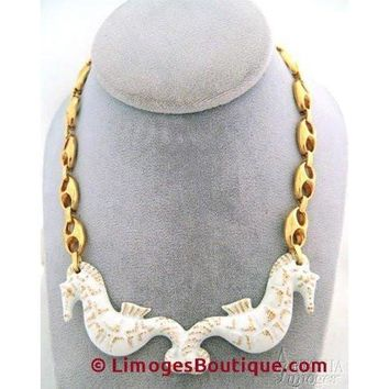 Sea Horse Necklace: White Limoges Box