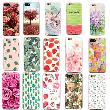 Thin Phone Cases for Apple iPhone 7 7 plus 6 6s 5 5s se 4 4s Case Flowers Daisy Plants Fruit Cactus Design TPU Phone Covers Shel