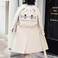 Embroidered bee double-breasted long and medium style trench coat for women and women