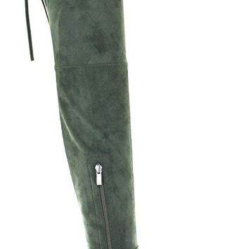 Urban Heels Women's Shoes MICHIGAN Faux Suede Comfort Stretchy Over the Knee Low Heel Boots