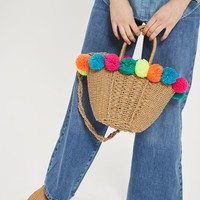 Sia Multi Pom-Pom Straw Shopper Bag