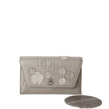 Akris Anouk Buttercup-Embellished Envelope Clutch Bag, Light Beige