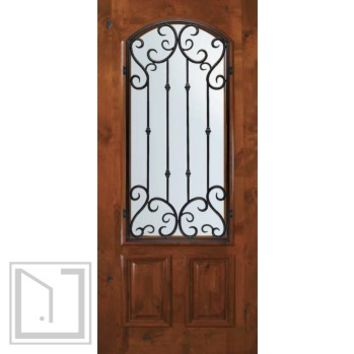 Slab Single Door 80 Wood Alder Valencia Arch Lite Wrought Iron