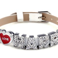 MBOX I Love Harry One Direction ID Member bracelet wristband wrist band link chain fashion jewelry