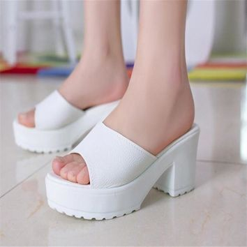 US SIZE Fashion High Heel Slippers Leather Soft  Platform sandals Ladies Wedges women's Sandals