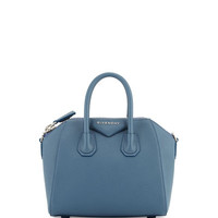 Antigona Mini Leather Satchel Bag, Mineral Blue