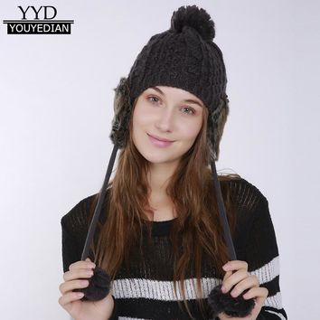 Winter Warm Thicken Pom Pom Ball Beanies Women Warm Crochet Winter Wool Knitted Beanie Caps Hat Protect Ears Hats Ladies #1117